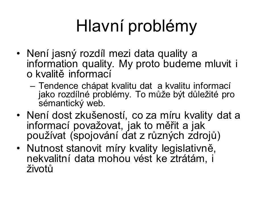 Hlavní problémy Není jasný rozdíl mezi data quality a information quality. My proto budeme mluvit i o kvalitě informací.