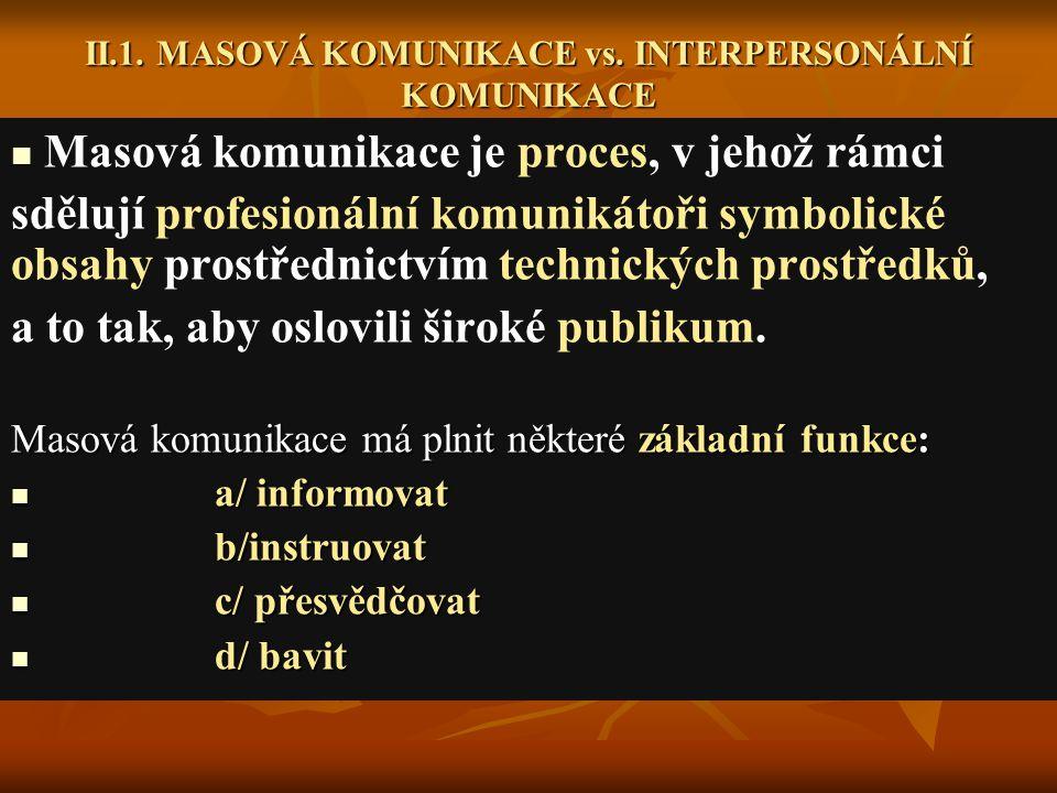 II.1. MASOVÁ KOMUNIKACE vs. INTERPERSONÁLNÍ KOMUNIKACE