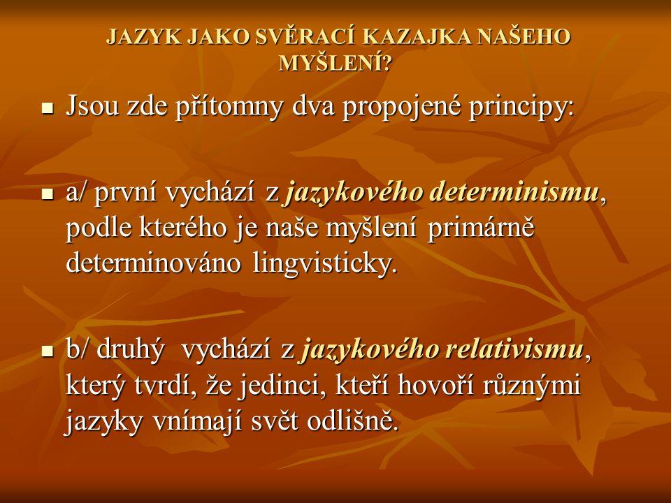 JAZYK JAKO SVĚRACÍ KAZAJKA NAŠEHO MYŠLENÍ
