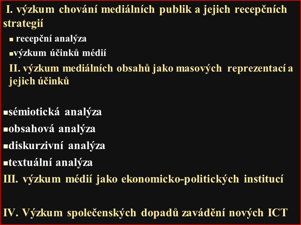 I. výzkum chování mediálních publik a jejich recepčních strategií