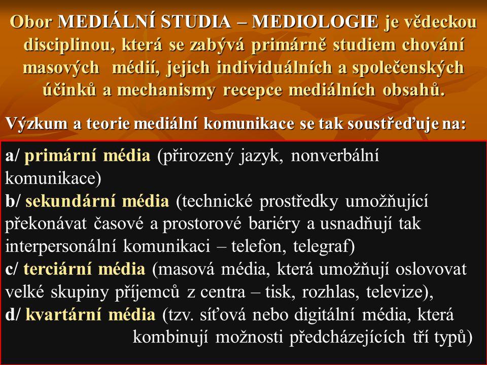 a/ primární média (přirozený jazyk, nonverbální komunikace)