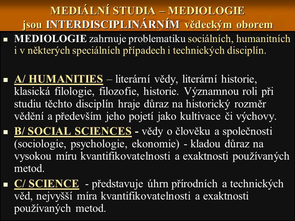 MEDIÁLNÍ STUDIA – MEDIOLOGIE jsou INTERDISCIPLINÁRNÍM vědeckým oborem