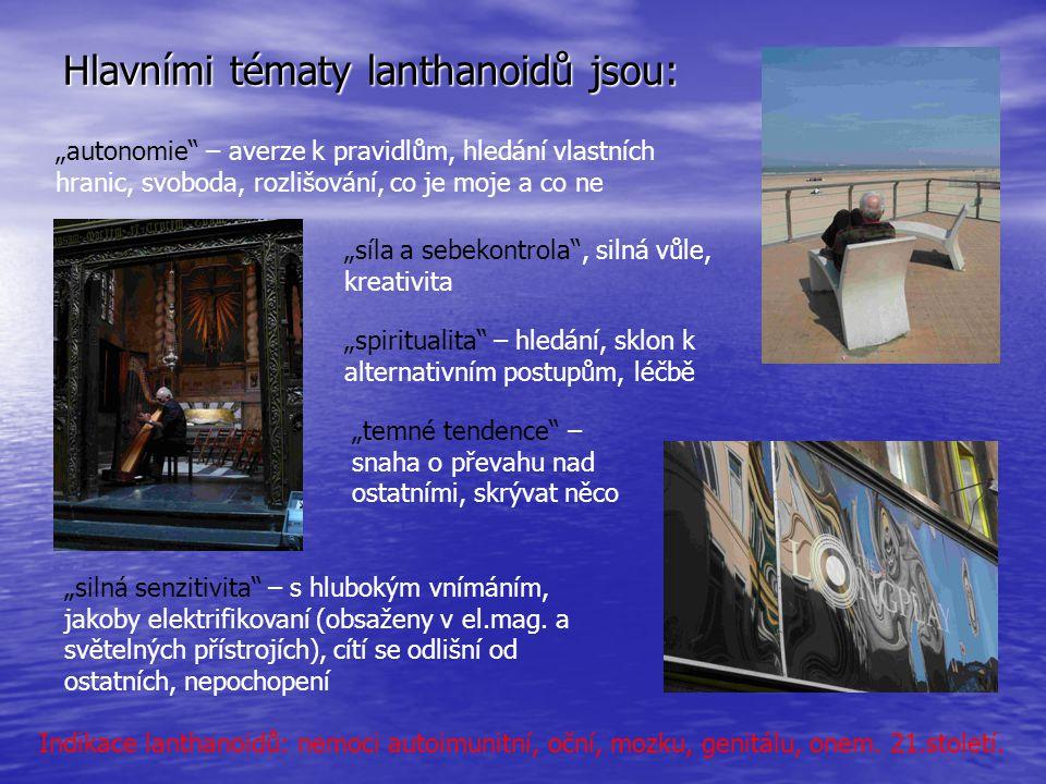 Hlavními tématy lanthanoidů jsou: