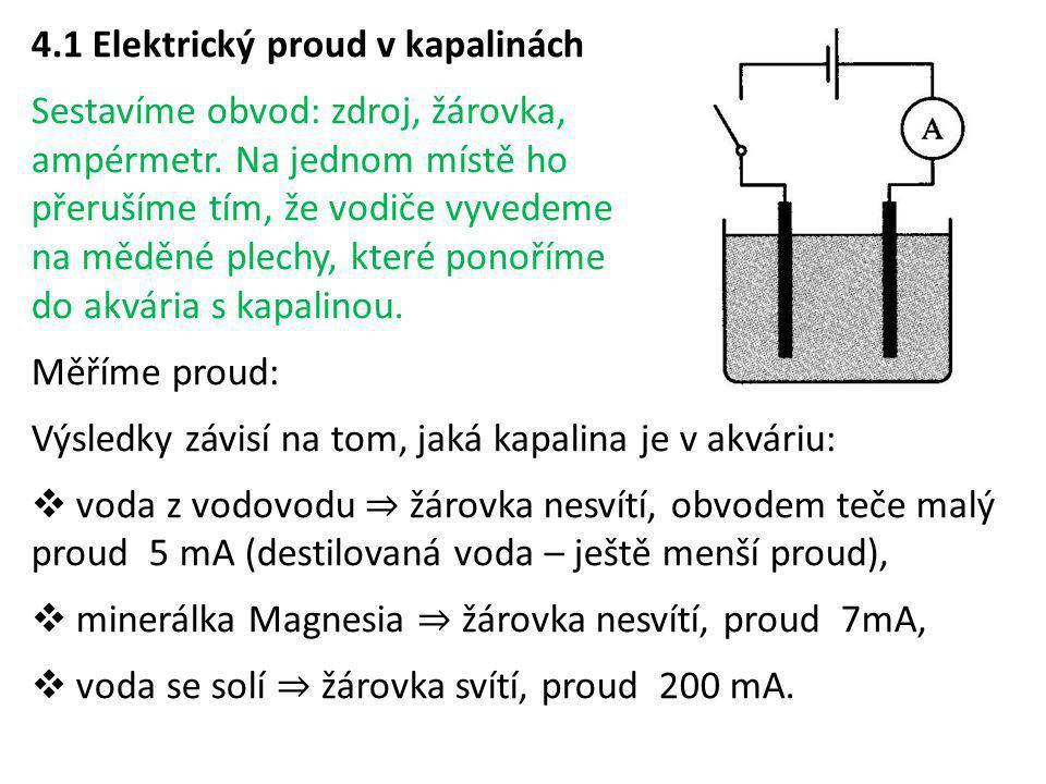 4.1 Elektrický proud v kapalinách