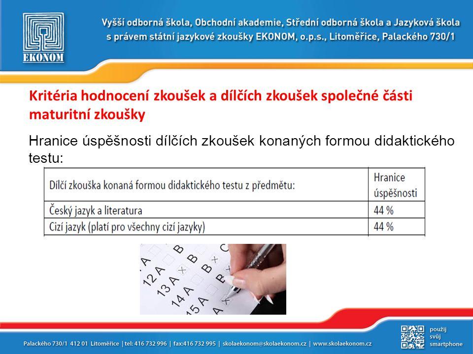Kritéria hodnocení zkoušek a dílčích zkoušek společné části maturitní zkoušky