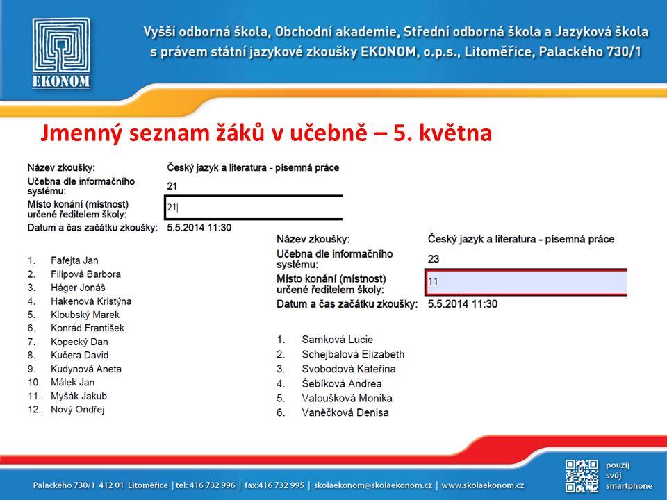Jmenný seznam žáků v učebně – 5. května