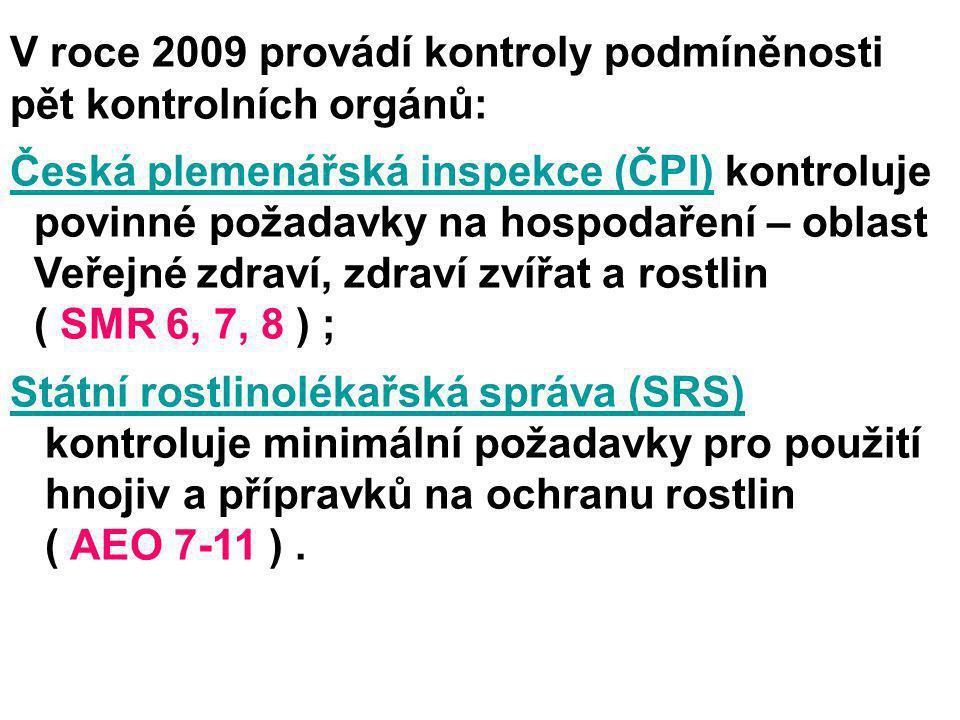 V roce 2009 provádí kontroly podmíněnosti pět kontrolních orgánů: