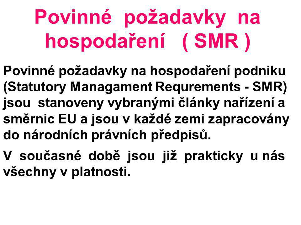 Povinné požadavky na hospodaření ( SMR )
