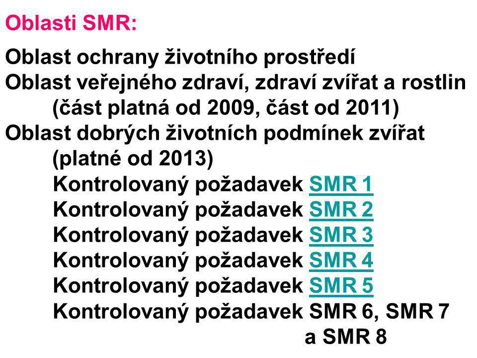 Kontrolovaný požadavek SMR 6, SMR 7 a SMR 8