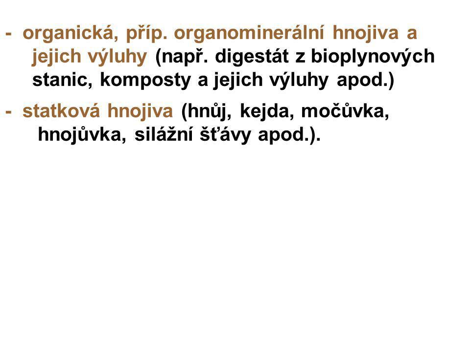 - organická, příp. organominerální hnojiva a