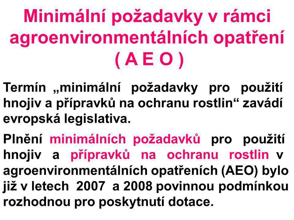 Minimální požadavky v rámci agroenvironmentálních opatření
