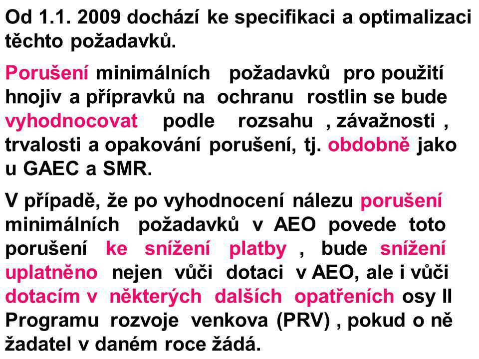 Od 1.1. 2009 dochází ke specifikaci a optimalizaci těchto požadavků.