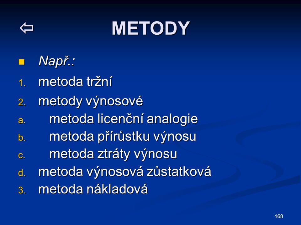  METODY Např.: metoda tržní metody výnosové metoda licenční analogie