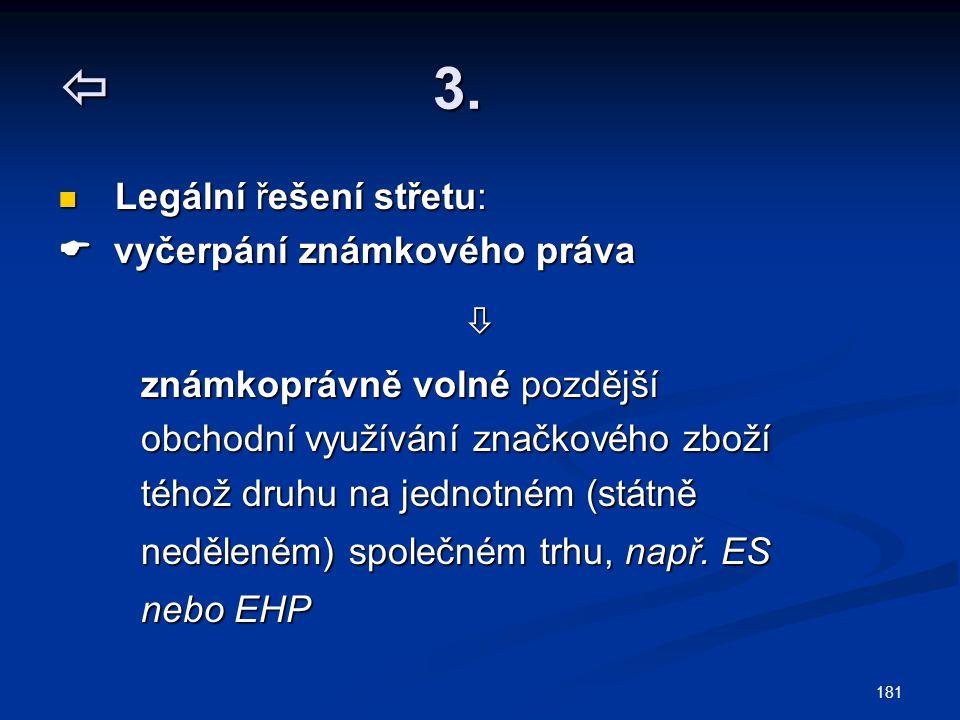  3. Legální řešení střetu:  vyčerpání známkového práva 