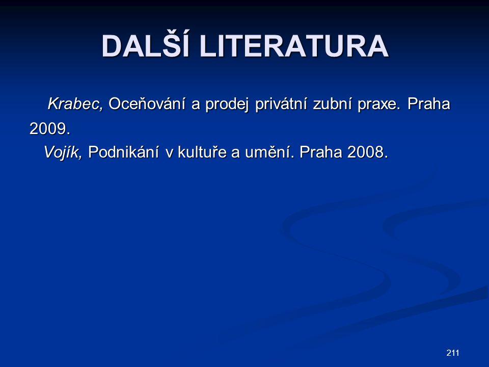 DALŠÍ LITERATURA Krabec, Oceňování a prodej privátní zubní praxe.