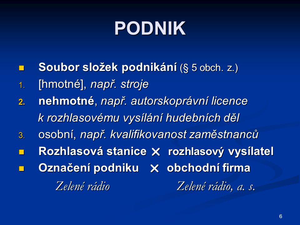 PODNIK Zelené rádio Zelené rádio, a. s.