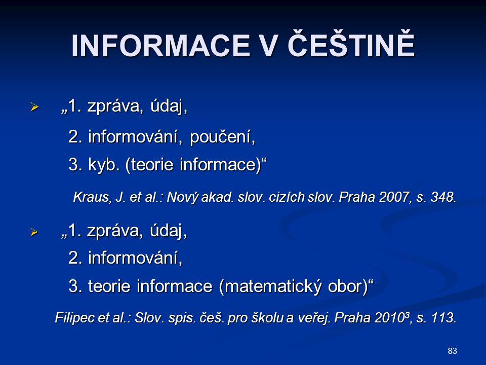 """INFORMACE V ČEŠTINĚ """"1. zpráva, údaj, 2. informování, poučení,"""
