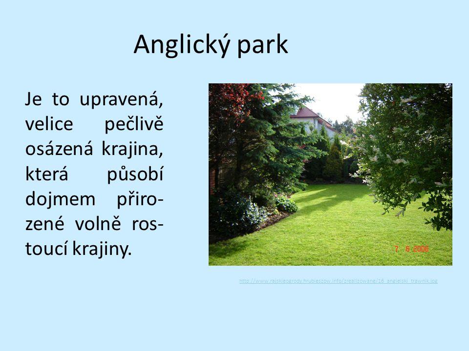 Anglický park Je to upravená, velice pečlivě osázená krajina, která působí dojmem přiro-zené volně ros-toucí krajiny.