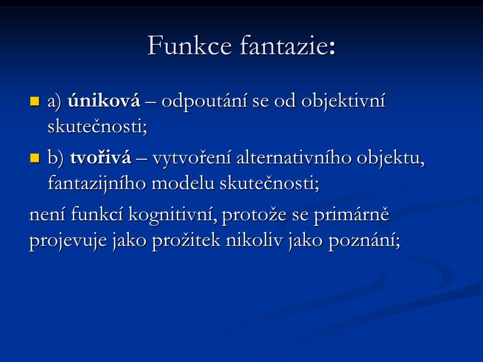Funkce fantazie: a) úniková – odpoutání se od objektivní skutečnosti;
