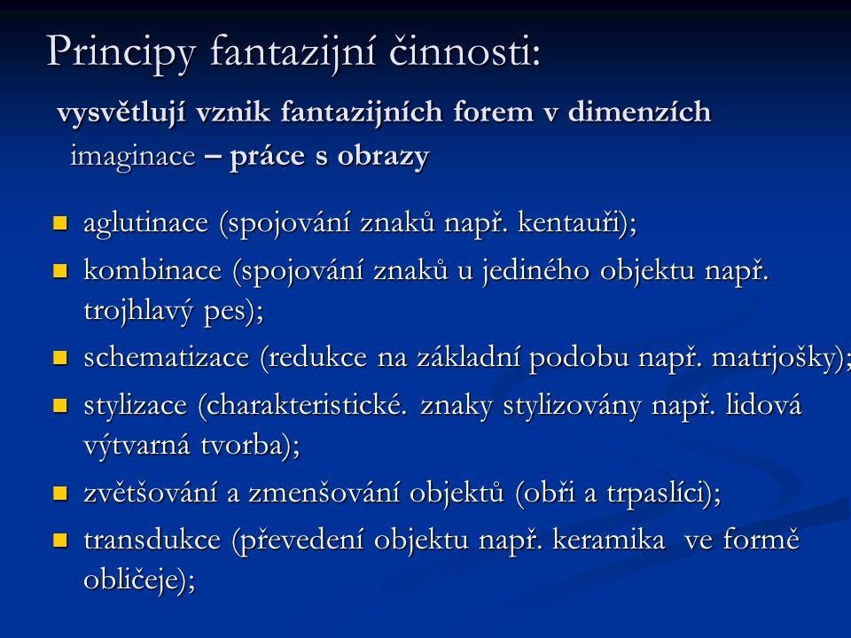 Principy fantazijní činnosti: vysvětlují vznik fantazijních forem v dimenzích imaginace – práce s obrazy