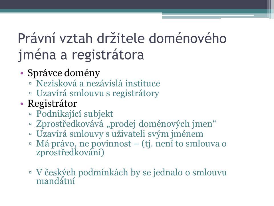 Právní vztah držitele doménového jména a registrátora