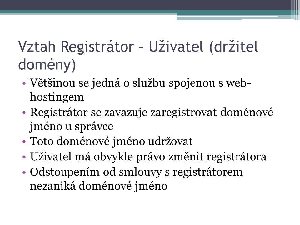 Vztah Registrátor – Uživatel (držitel domény)