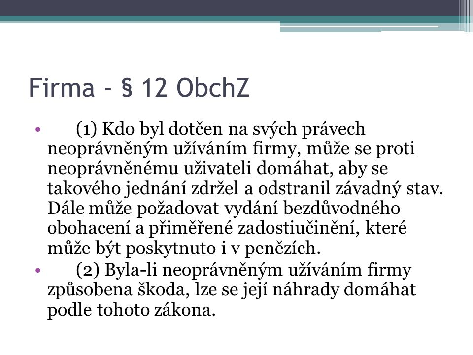 Firma - § 12 ObchZ