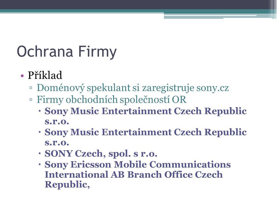 Ochrana Firmy Příklad Doménový spekulant si zaregistruje sony.cz