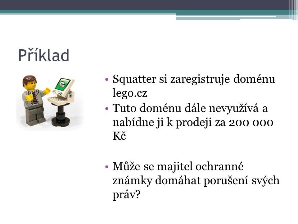 Příklad Squatter si zaregistruje doménu lego.cz