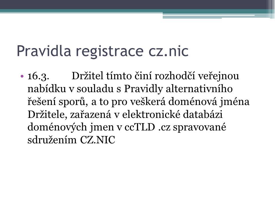 Pravidla registrace cz.nic
