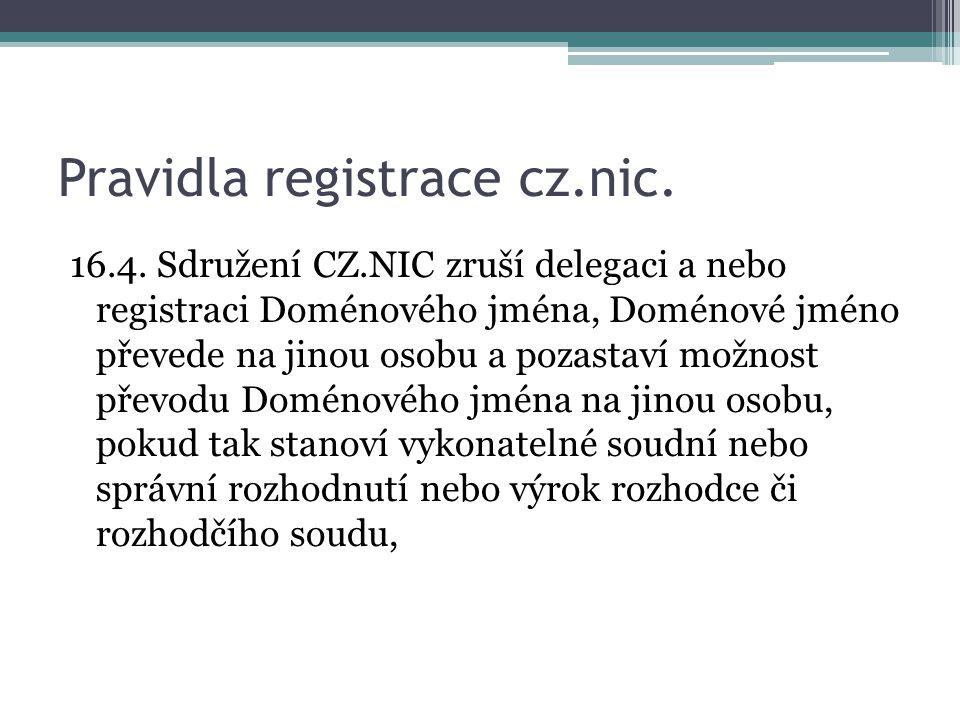 Pravidla registrace cz.nic.