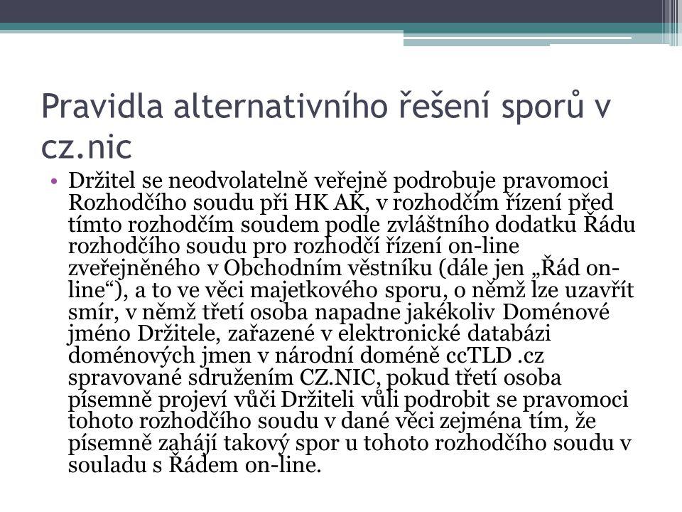 Pravidla alternativního řešení sporů v cz.nic