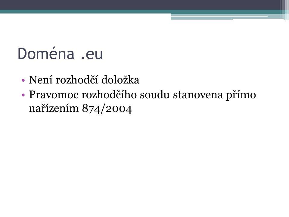 Doména .eu Není rozhodčí doložka