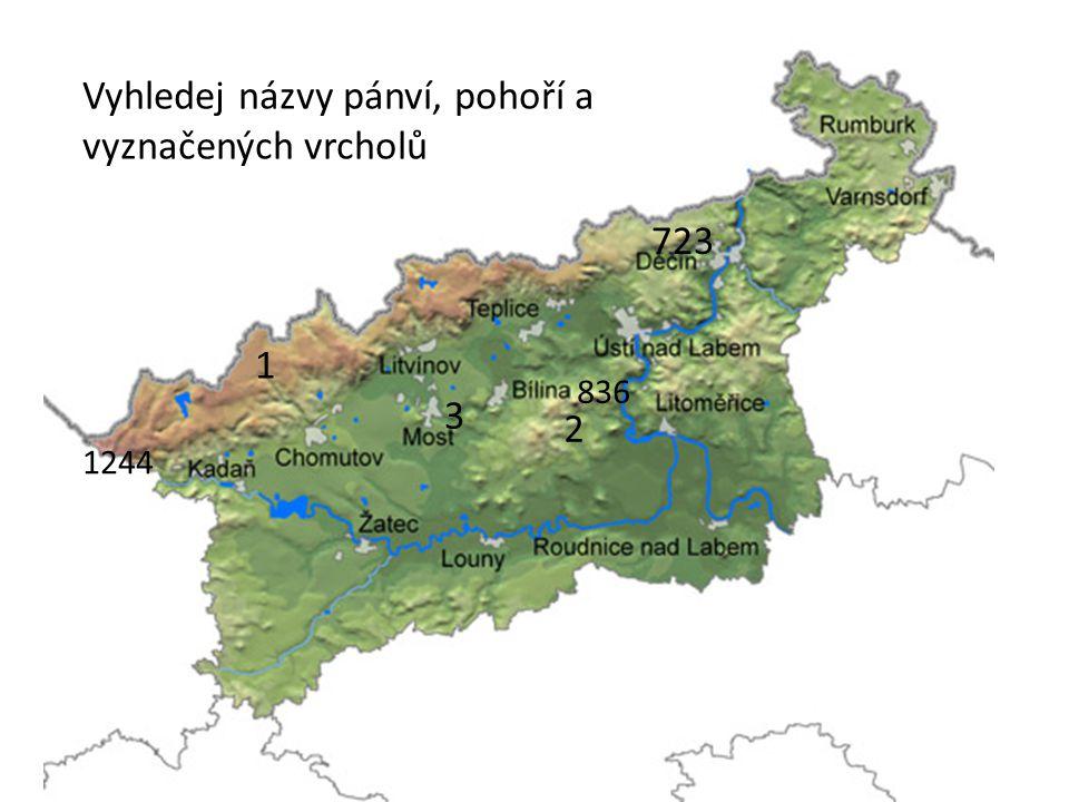 Vyhledej názvy pánví, pohoří a vyznačených vrcholů