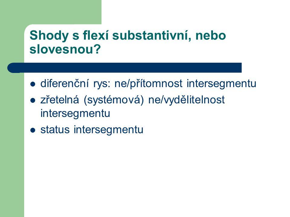 Shody s flexí substantivní, nebo slovesnou