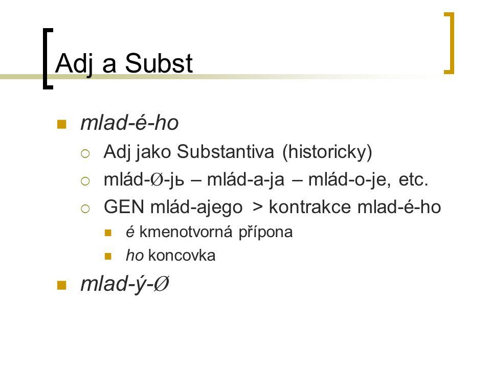 Adj a Subst mlad-é-ho mlad-ý-Ø Adj jako Substantiva (historicky)