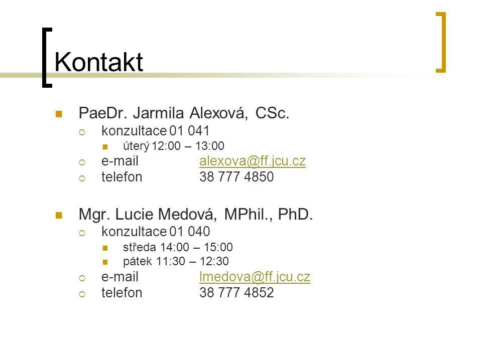 Kontakt PaeDr. Jarmila Alexová, CSc. Mgr. Lucie Medová, MPhil., PhD.