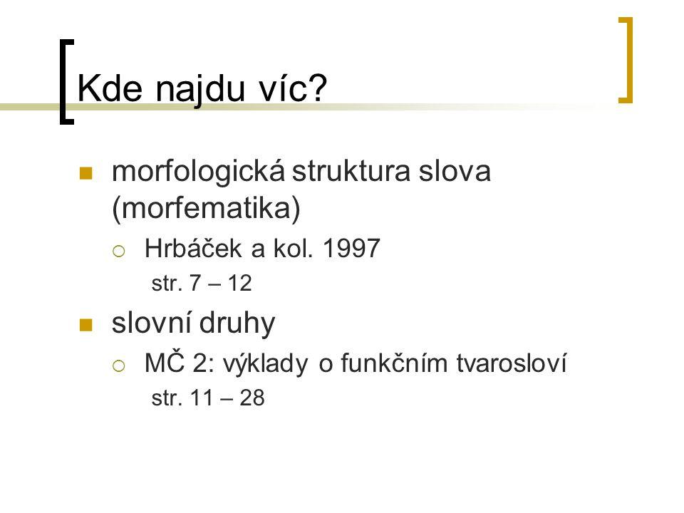 Kde najdu víc morfologická struktura slova (morfematika) slovní druhy