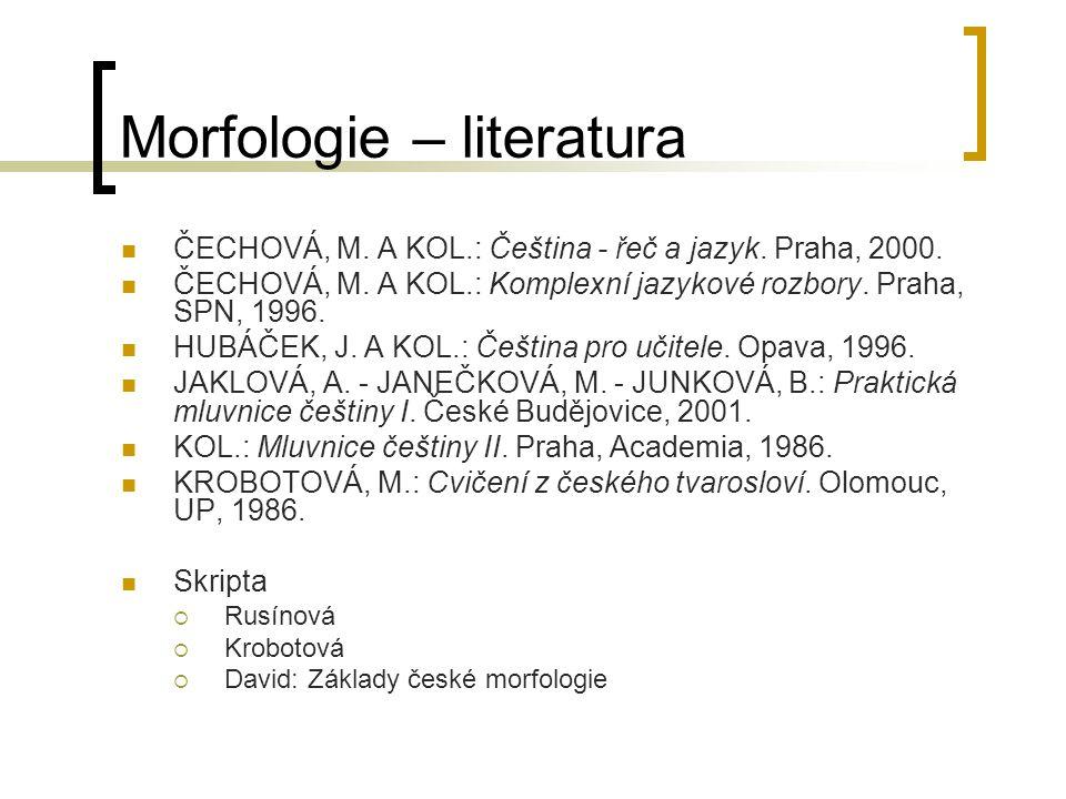 Morfologie – literatura