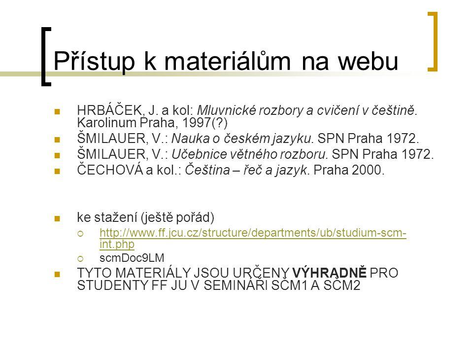 Přístup k materiálům na webu