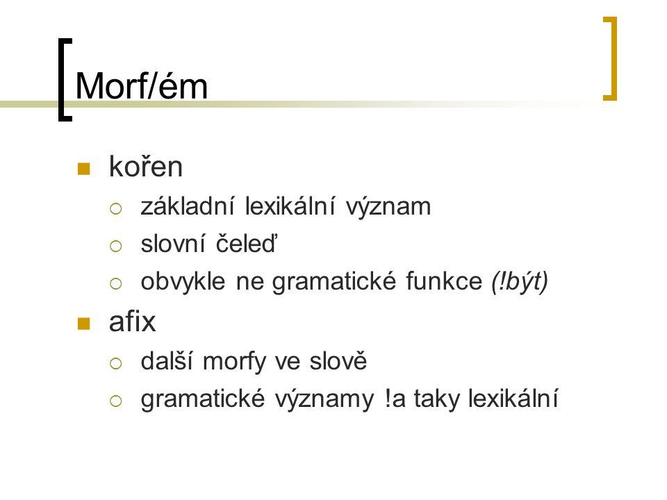 Morf/ém kořen afix základní lexikální význam slovní čeleď