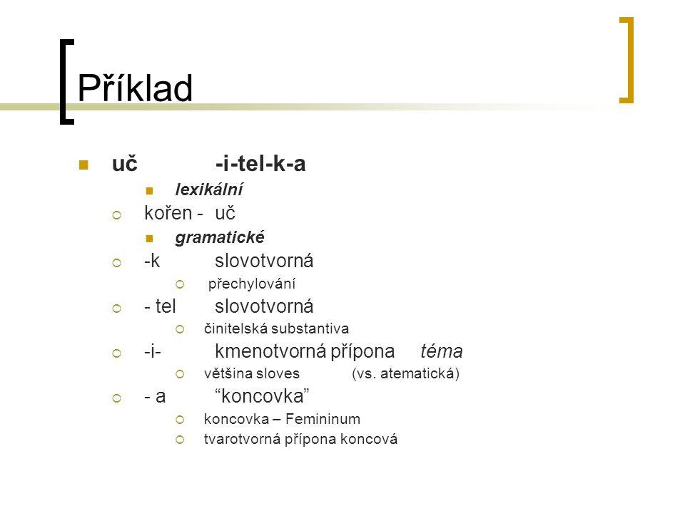 Příklad uč -i-tel-k-a kořen - uč -k slovotvorná - tel slovotvorná