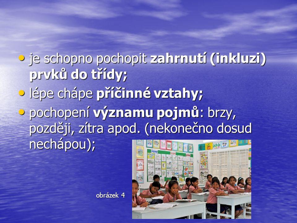 je schopno pochopit zahrnutí (inkluzi) prvků do třídy;