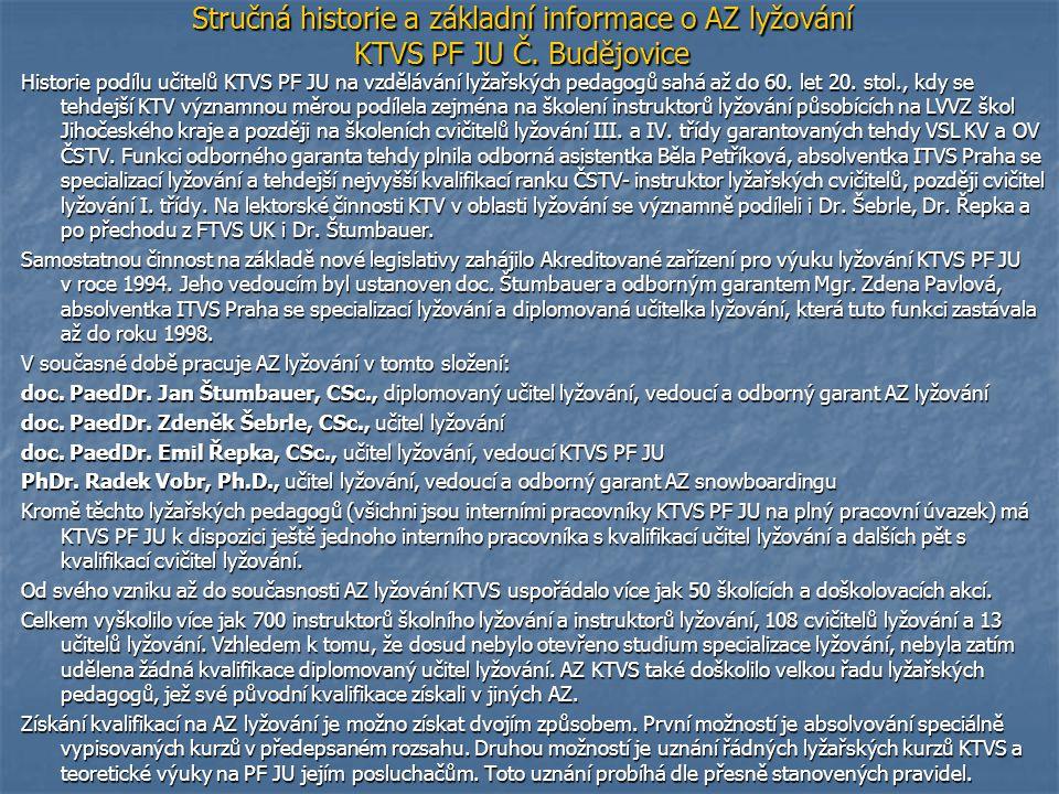 Stručná historie a základní informace o AZ lyžování KTVS PF JU Č