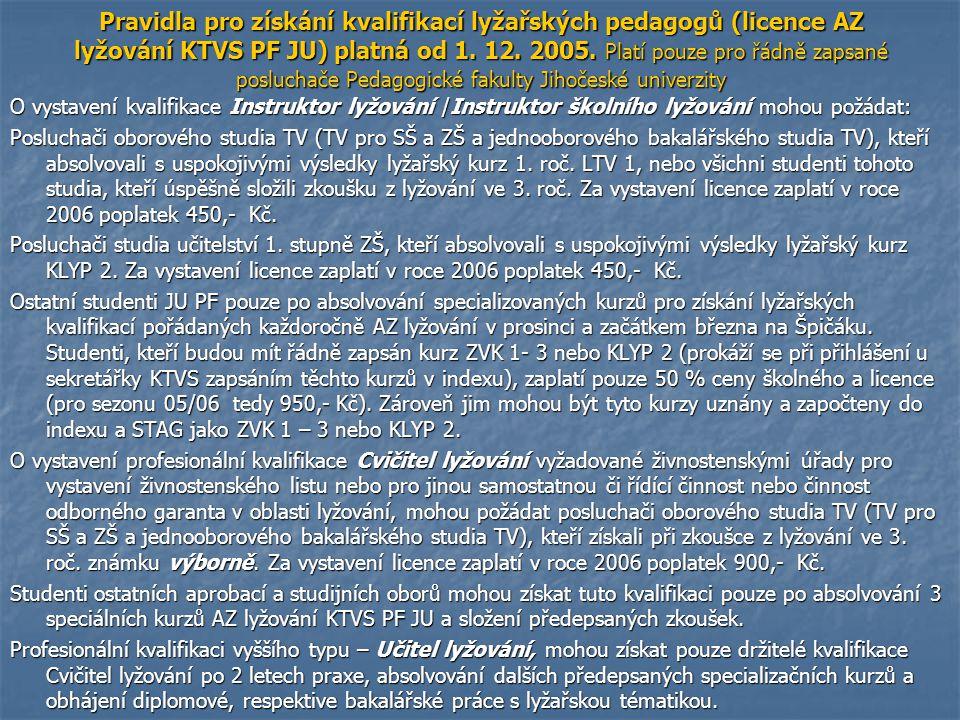 Pravidla pro získání kvalifikací lyžařských pedagogů (licence AZ lyžování KTVS PF JU) platná od 1. 12. 2005. Platí pouze pro řádně zapsané posluchače Pedagogické fakulty Jihočeské univerzity