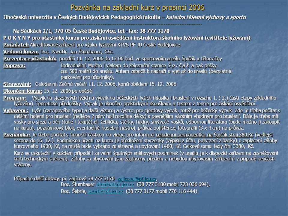 Pozvánka na základní kurz v prosinci 2006