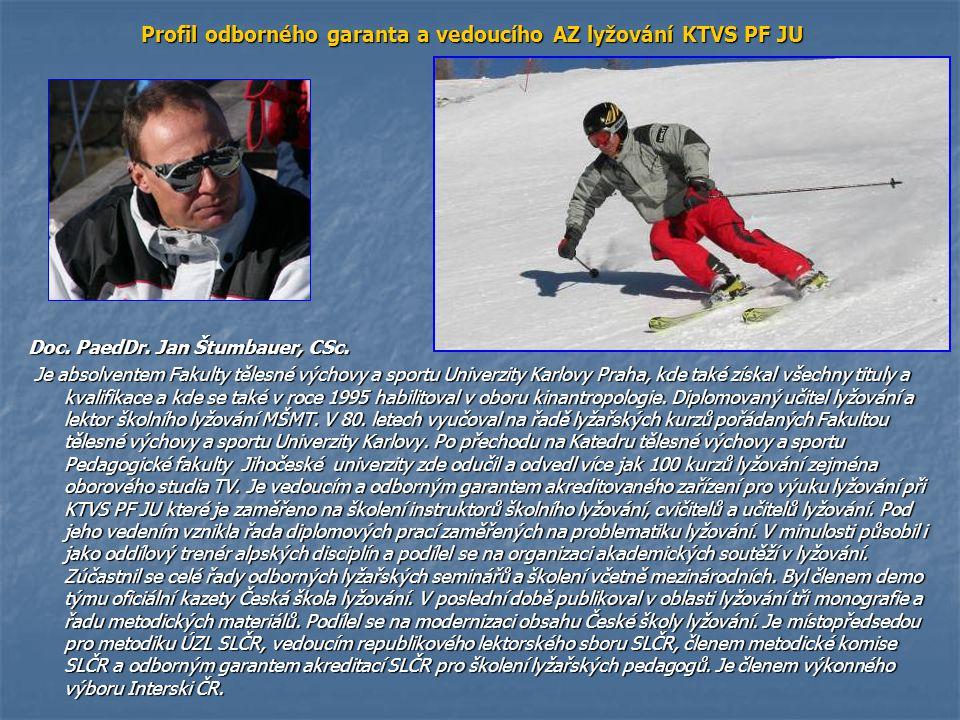 Profil odborného garanta a vedoucího AZ lyžování KTVS PF JU