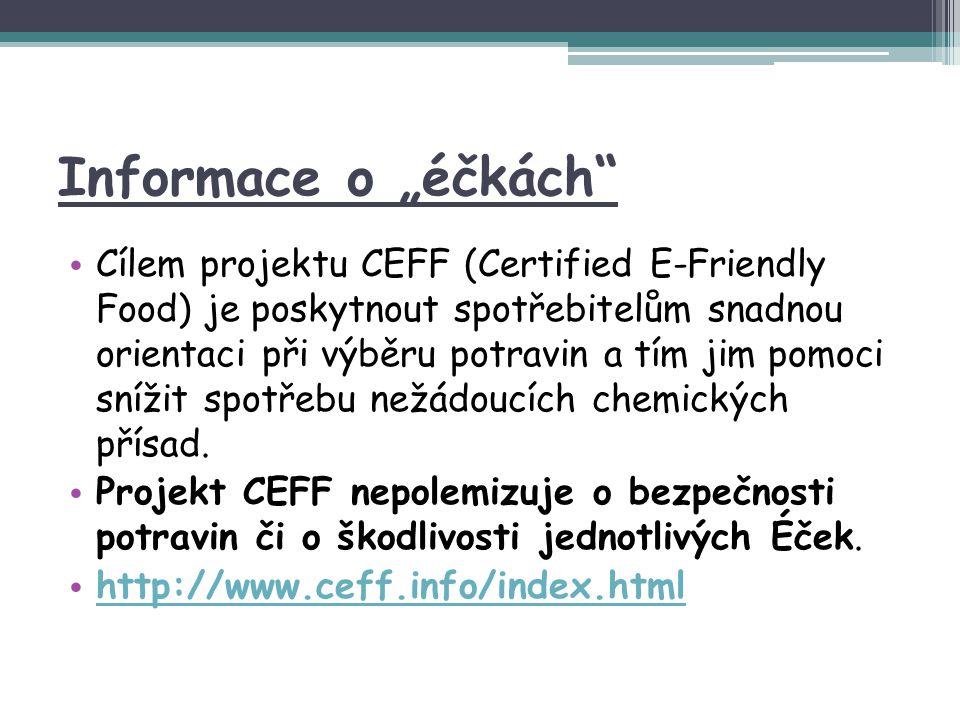 """Informace o """"éčkách"""