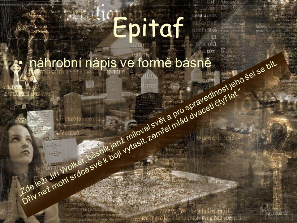 Epitaf náhrobní nápis ve formě básně