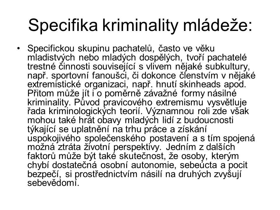 Specifika kriminality mládeže: